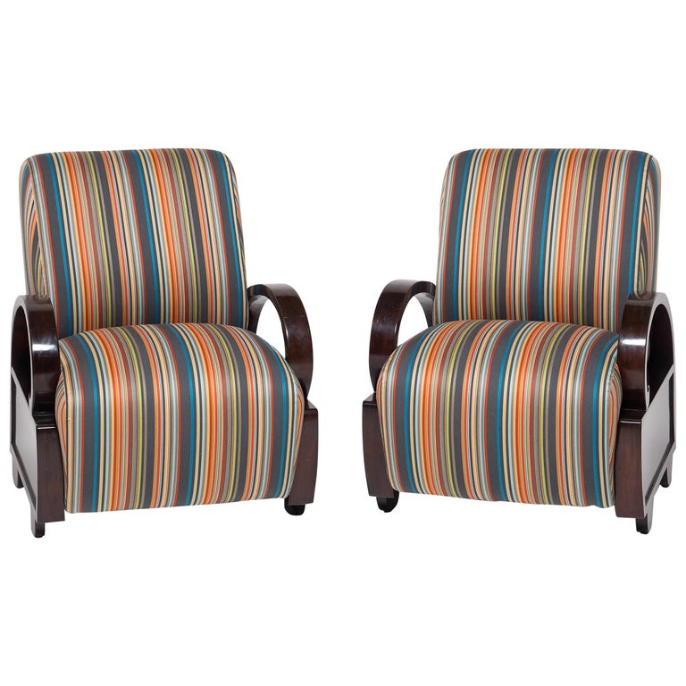 Pair of Chinese Art Deco Club Chairs For Sale