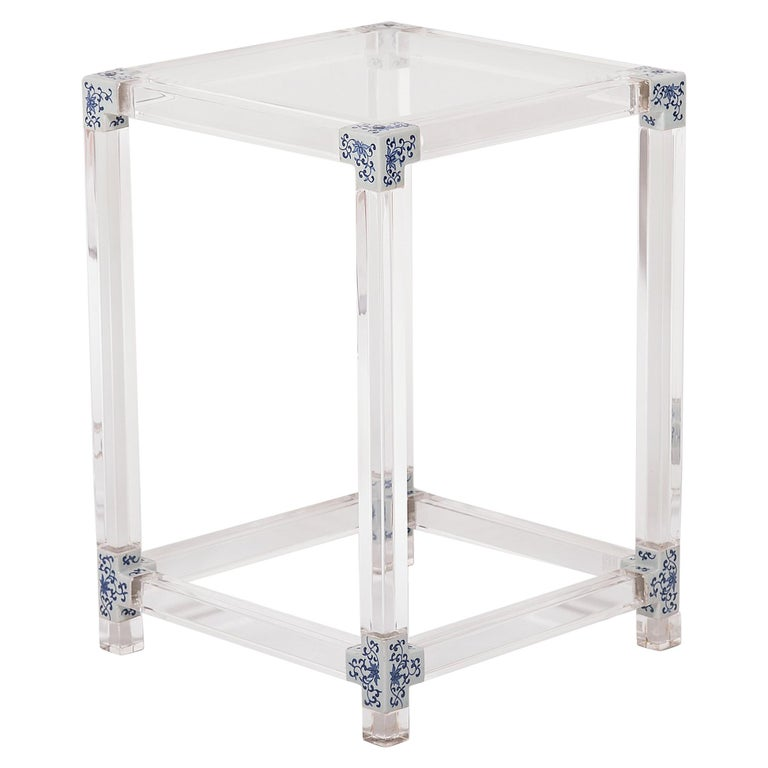 Blue and White Invisible Side Table by July Zhou For Sale