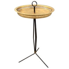 Italian Modernist Tripod Side Table with Brass Tray, 1950s