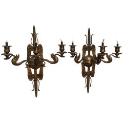 Pair of French Bronze Neoclassical Style Sconces