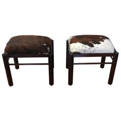 Pair of Midcentury Metal Cow Hide Benches or Ottomans