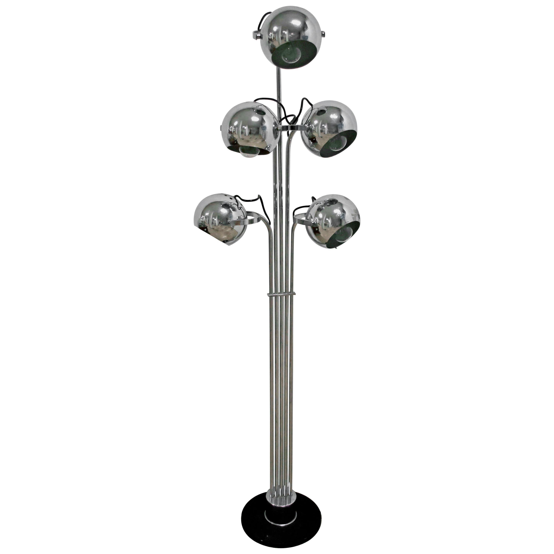 Goffredo Reggiani Mid-Century Modern Italian 5 Lights Chrome Floor Lamp, 1970s