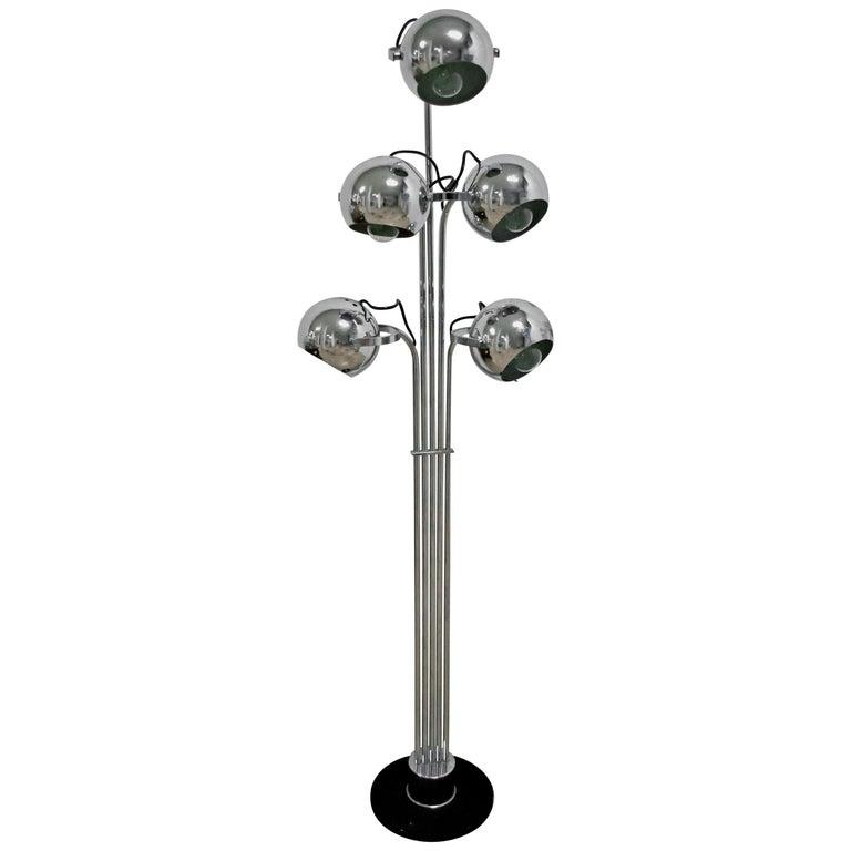 Goffredo Reggiani Mid-Century Modern Italian 5 Lights Chrome Floor Lamp, 1970s For Sale