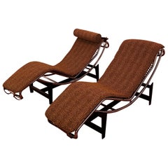 Pair of Le Corbusier LC4 Style Leopard Print and Chrome Lounge Chair