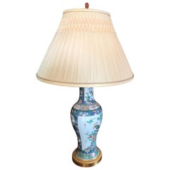 Elegant Chinese Famille Rose Vase and Gilt Bronze Mount, Side Table Lamp