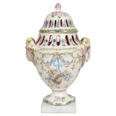 18th Century French Faience Potpourri Urn
