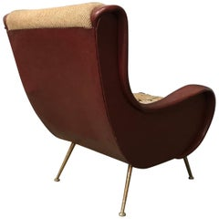 1951, Marco Zanusso for Arflex, Senior Chair in Red Faux Leather and Gone Fabric