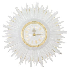 Very Rare Hutschenreuther Sunburst Wall Clock in Porcelain, Germany, 1960s