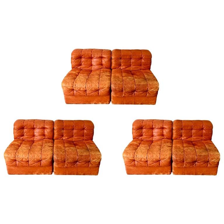 De Sede DS-11 Modular Six-Piece Leather Sofa For Sale