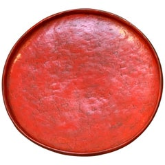 Burmese Red Lacquer Large Round Offering or Serving Tray, Late 19th Century