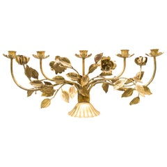 Very Rare Large Gilded Florentine Candleholder by Hans Kögl, Germany, 1960s
