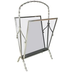 Midcentury Maison Baguès Silvered Brass Faux Bamboo Magazine Rack, 1960s, France