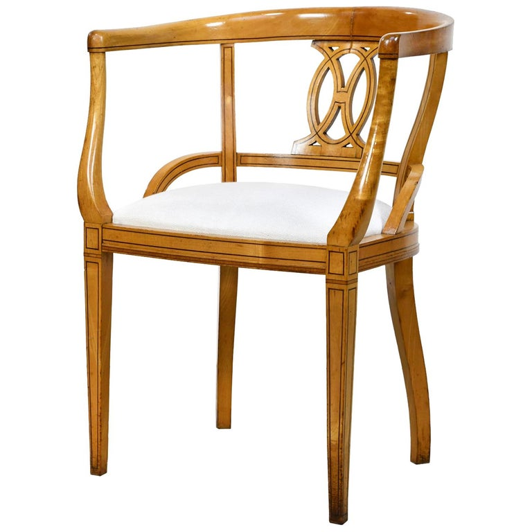 Set of Four Scandinavian Biedermeier Armchairs in Birch, circa 1835 For Sale