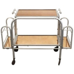 Deco Bar Cart with Peach Colored Mirrored Glass, USA, circa 1930