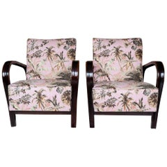 Pair of 1940s Czech Art Deco Jindrich Halabala Bentwood Armchairs