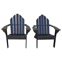 Adirondack Chairs in Black Paint / Pair