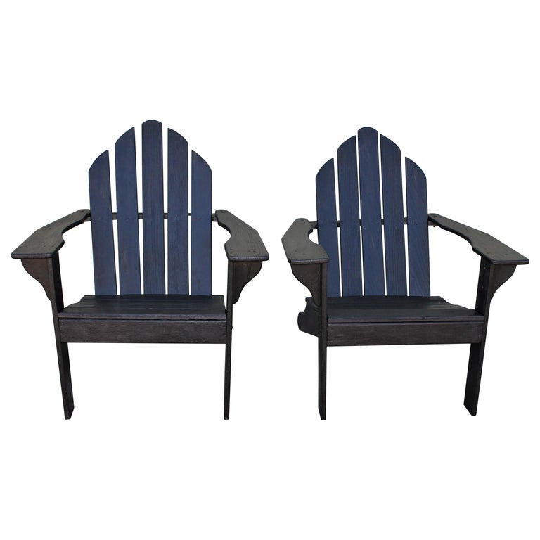 Adirondack Chairs in Black Paint / Pair For Sale