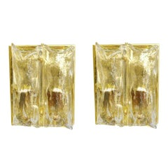 Pair of Textured Sconces by Mazzega