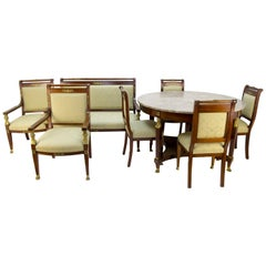 French Empire Style Walnut and Marble Eight Piece Salon Set, with Bronze Mounts