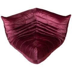 Togo Corner Couch in Burgundy Velvet by Michel Ducaroy by Ligne Roset