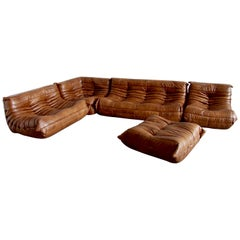 Vintage Leather Togo Sofa Set by Michel Ducaroy for Ligne Roset, Set of Five