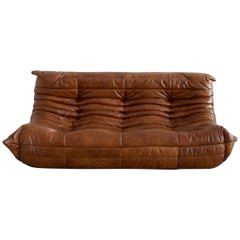 Togo 3-Seat Sofa in Whiskey Leather by Michel Ducaroy for Ligne Roset