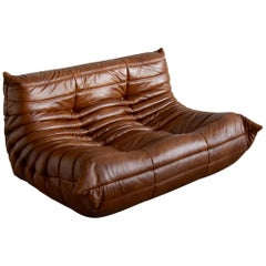 Togo 2-Seat Sofa in Whiskey Leather by Michel Ducaroy for Ligne Roset