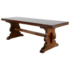 Long Solid-Plank Trestle Table from France