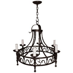 Elegant French, 1940s Wrought Iron Chandelier