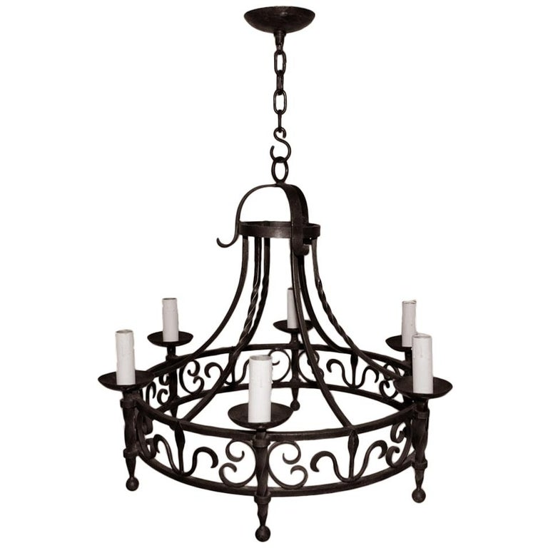 Elegant French, 1940s Wrought Iron Chandelier For Sale