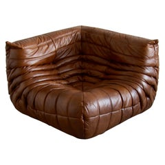 Togo Corner Couch in Whiskey Leather by Michel Ducaroy by Ligne Roset