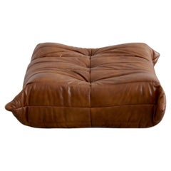 Togo Ottoman in Whiskey Leather by Michel Ducaroy, Ligne Roset