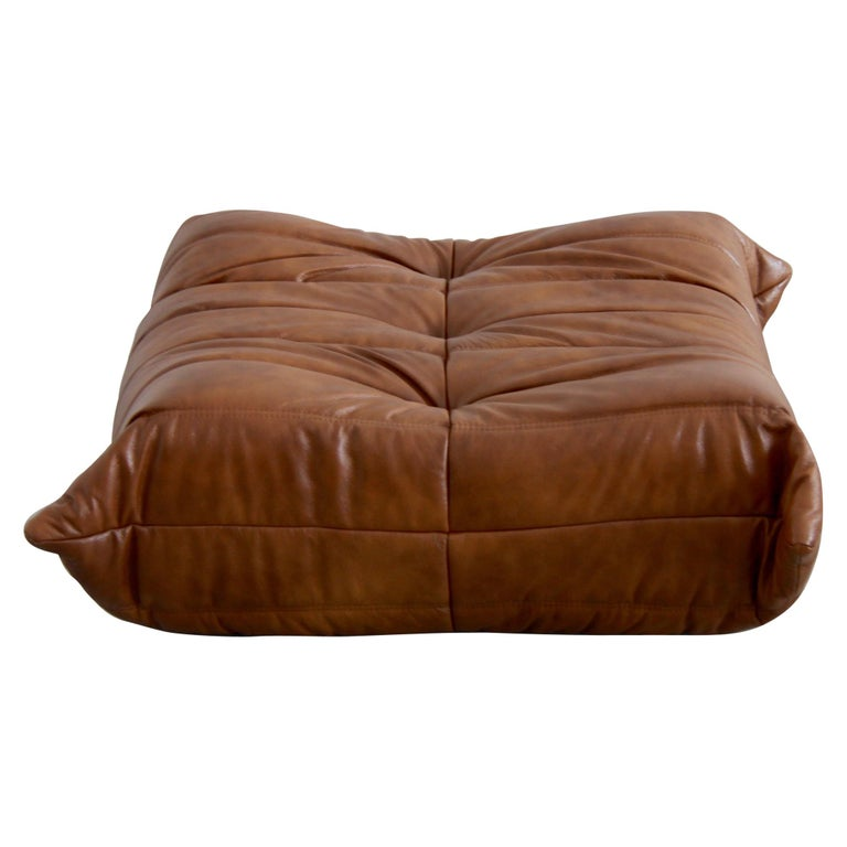 Togo Ottoman in Whiskey Leather by Michel Ducaroy, Ligne Roset For Sale