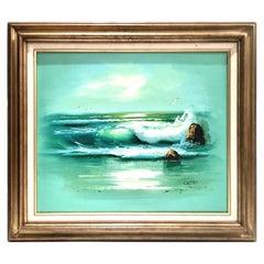 20th Century Italian Original Oil on Canvas Ocean Scene Painting by Cristi