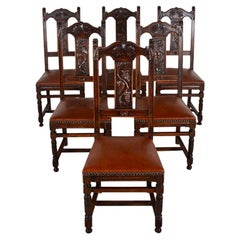 Set of Six French Carved Oak Dining Chairs