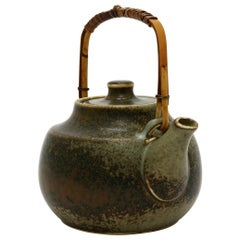 Carl-Harry Stalhane Stoneware Tea Pot Made at Rörstrand, Sweden in the 1960s