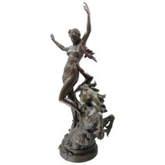 Bronze Woman and Horse in Movement, 19th Century, Édouard Drouot, French