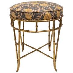 Brass Faux Bamboo Vanity Stool