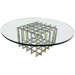 Brass and Chrome Cocktail Table by Pierre Cardin
