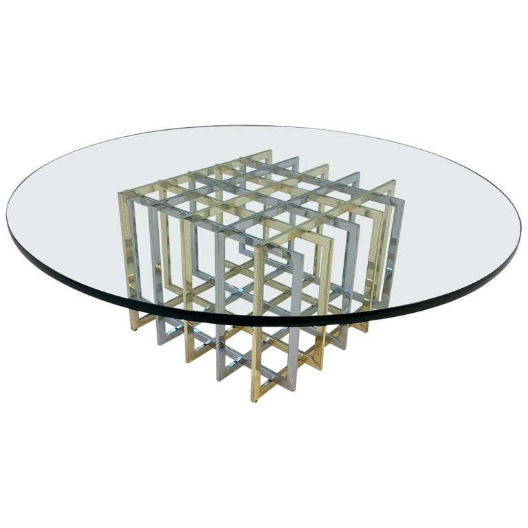 Brass and Chrome Cocktail Table by Pierre Cardin For Sale