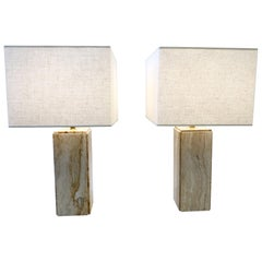 Pair of Italian Travertine and Brass Table Lamps by Raymor