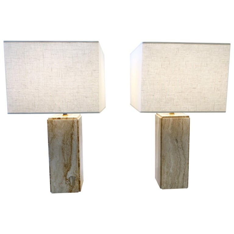 Pair of Italian Travertine and Brass Table Lamps For Sale