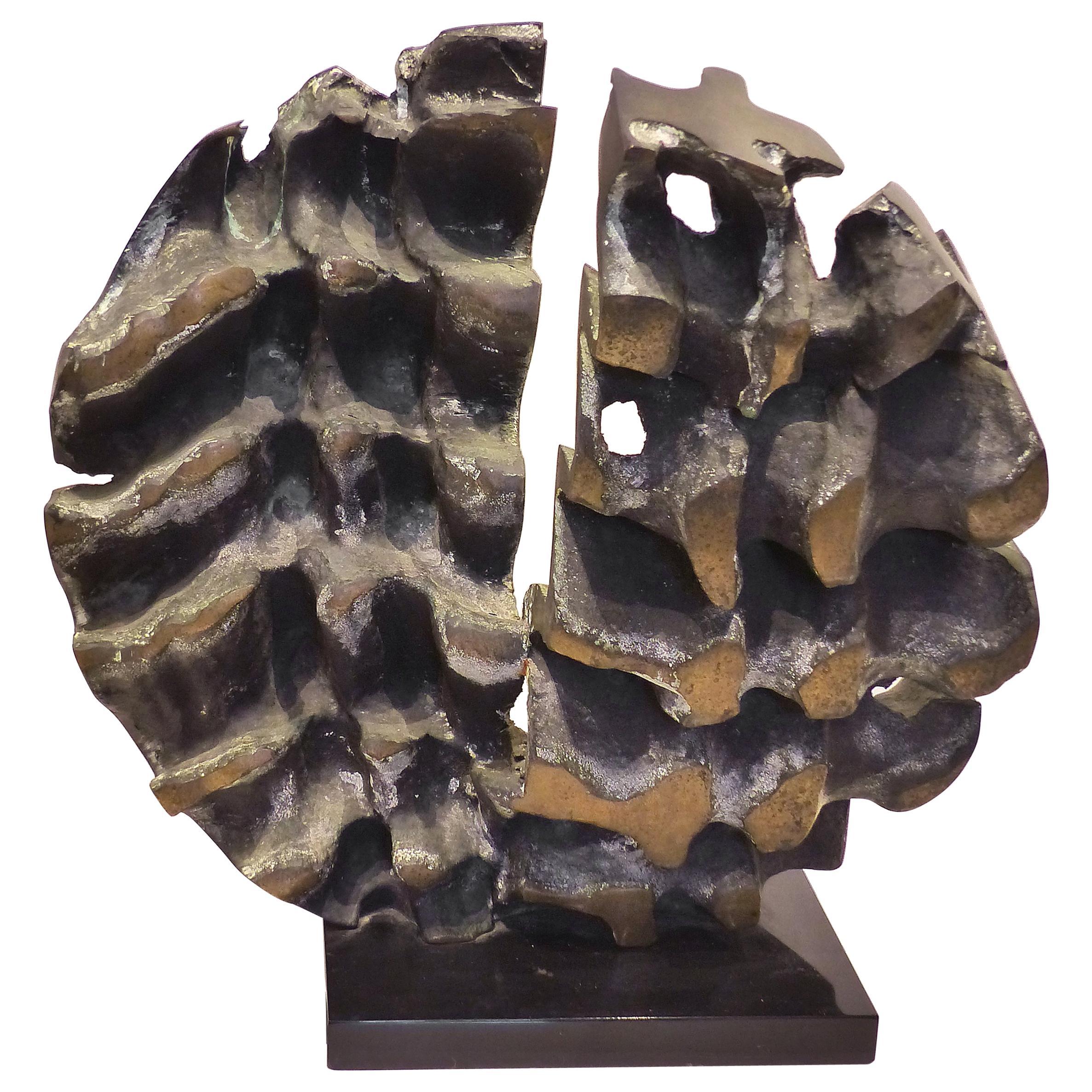 1970s Substantial Brutalist Bronze Sculpture, Signed