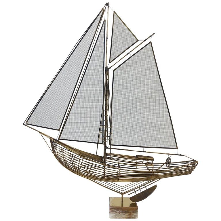 Brass Sailboat Sculpture by Curtis Jere For Sale