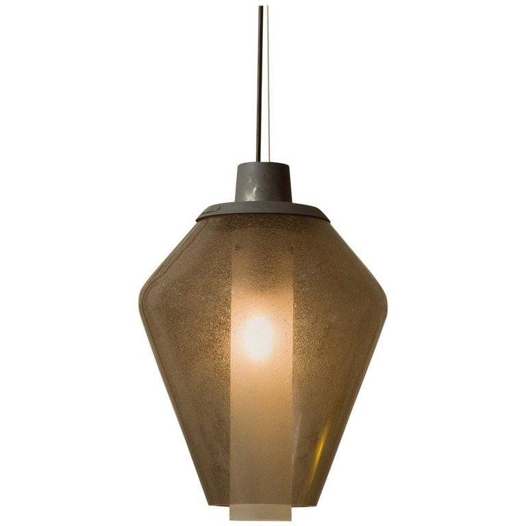 Foscarini Metal Glass 1 Suspension Lamp in Grey by Diesel For Sale