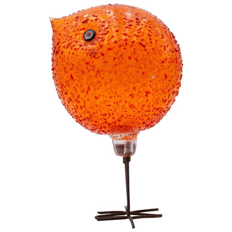 Iconic Space Age Vistosi Murano Orange Pulcino Glass Bird by Alessandro Pianon For Sale