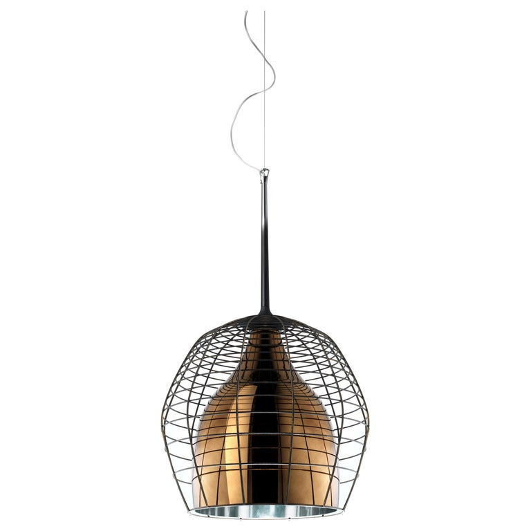 Foscarini Large Cage Suspension Lamp in Brown & Bronze by Diesel For Sale