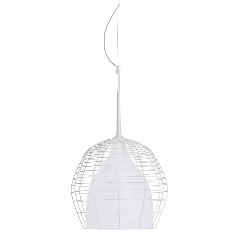 Foscarini Large Cage Suspension Lamp in White by Diesel For Sale