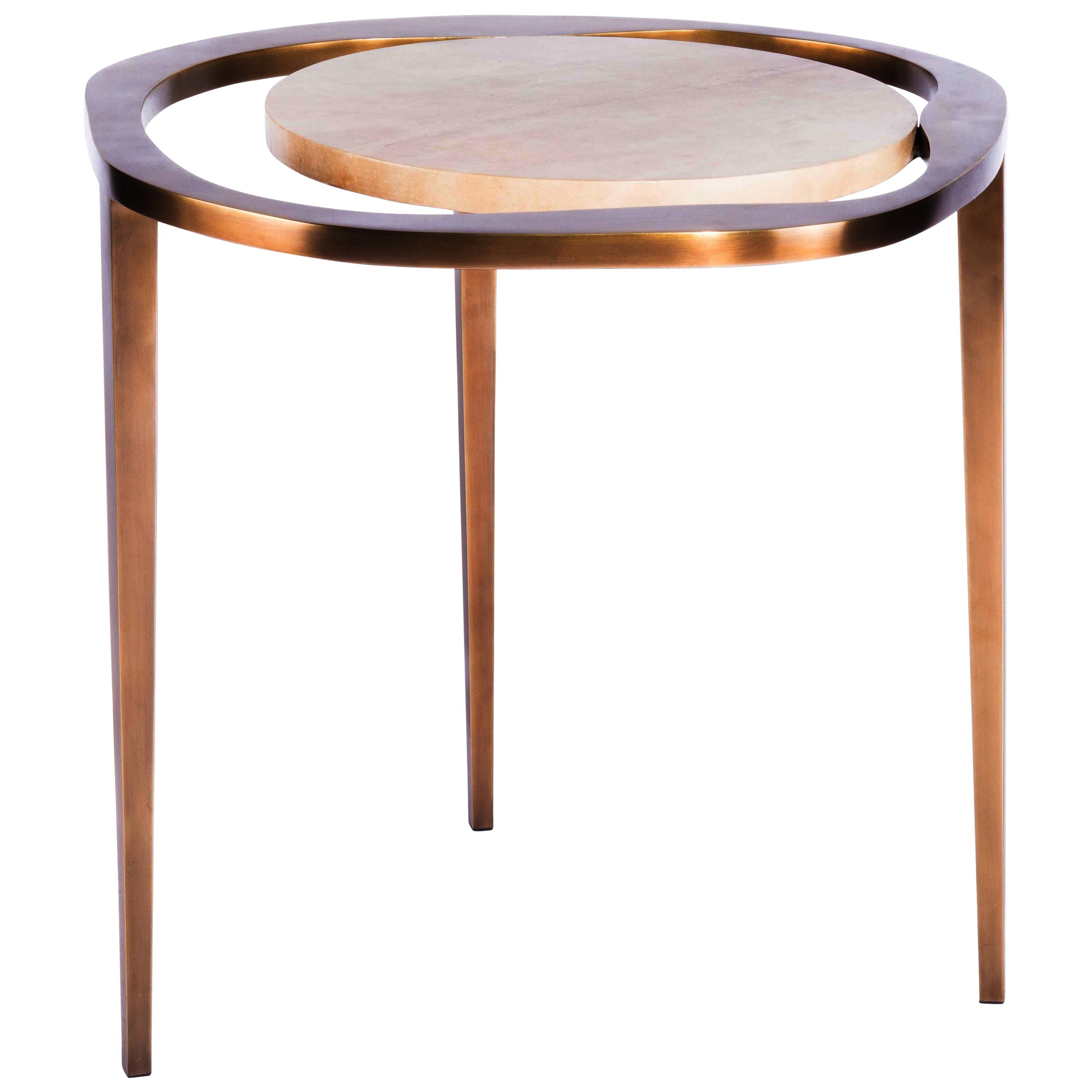 """Nesting Side Table """"Lily L"""" in Parchment & Bronze Patina Brass by R & Y Augousti"""
