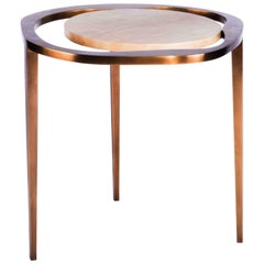 "Nesting Side Table ""Lily L"" in Parchment & Bronze Patina Brass by R & Y Augousti"